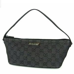 Auth GUCCI GG Canvas Leather Mini Hand Bag Italy